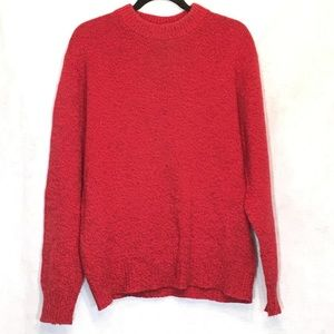 LL Bean Red Crewneck Long Sleeve Wool Sweater
